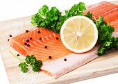 Fresh Salmon Fillet With Herbs, Spices And Lemon