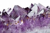 pic of crystal clear  - crystals of a purple amethyst isolated on white - JPG