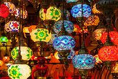 Multi-colored lamps hanging at the Grand Bazaar in Istanbul.