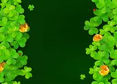 stock photo of triskele  - Dark green vector background with clovers - JPG