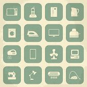 Retro home appliances icons. Vector illustration