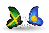 Two Butterflies With Flags On Wings As Symbol Of Relations Jamaica And Palau