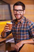 Man Enjoying Hot Fresh Coffee