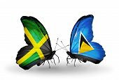 Two Butterflies With Flags On Wings As Symbol Of Relations Jamaica And Saint Lucia