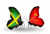 Two Butterflies With Flags On Wings As Symbol Of Relations Jamaica And Soviet Union