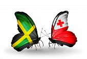 Two Butterflies With Flags On Wings As Symbol Of Relations Jamaica And Tonga
