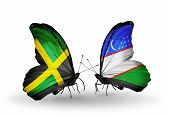Two Butterflies With Flags On Wings As Symbol Of Relations Jamaica And Uzbekistan
