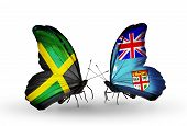 Two Butterflies With Flags On Wings As Symbol Of Relations Jamaica And Fiji