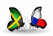Two Butterflies With Flags On Wings As Symbol Of Relations Jamaica And Czech