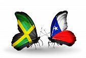 Two Butterflies With Flags On Wings As Symbol Of Relations Jamaica And Chile
