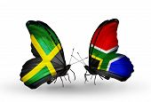 Two Butterflies With Flags On Wings As Symbol Of Relations Jamaica And South Africa