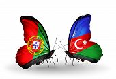 Two Butterflies With Flags On Wings As Symbol Of Relations Portugal And Azerbaijan