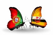 Two Butterflies With Flags On Wings As Symbol Of Relations Portugal And Brunei
