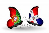 Two Butterflies With Flags On Wings As Symbol Of Relations Portugal And Dominicana