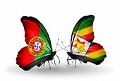 Two Butterflies With Flags On Wings As Symbol Of Relations Portugal And Zimbabwe