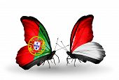 Two Butterflies With Flags On Wings As Symbol Of Relations Portugal And Monaco, Indonesia