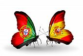 Two Butterflies With Flags On Wings As Symbol Of Relations Portugal And Spain