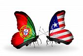 Two Butterflies With Flags On Wings As Symbol Of Relations Portugal And Liberia