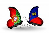 Two Butterflies With Flags On Wings As Symbol Of Relations Portugal And Liechtenstein