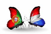 Two Butterflies With Flags On Wings As Symbol Of Relations Portugal And Luxembourg