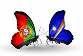 Two Butterflies With Flags On Wings As Symbol Of Relations Portugal And Marshall Islands