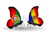 Two Butterflies With Flags On Wings As Symbol Of Relations Portugal And Moldova