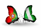 Two Butterflies With Flags On Wings As Symbol Of Relations Portugal And Nigeria