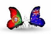Two Butterflies With Flags On Wings As Symbol Of Relations Portugal And New Zealand