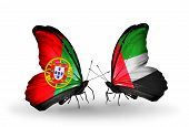 Two Butterflies With Flags On Wings As Symbol Of Relations Portugal And Uae