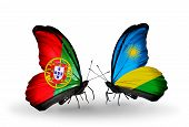 Two Butterflies With Flags On Wings As Symbol Of Relations Portugal And  Rwanda