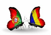 Two Butterflies With Flags On Wings As Symbol Of Relations Portugal And Chad, Romania