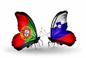 Two Butterflies With Flags On Wings As Symbol Of Relations Portugal And Slovenia