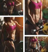 stock photo of fitness  - Brutal athletic woman pumping up muscles with dumbbells - JPG