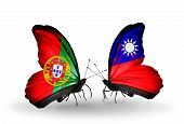 Two Butterflies With Flags On Wings As Symbol Of Relations Portugal And Taiwan
