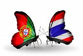 Two Butterflies With Flags On Wings As Symbol Of Relations Portugal And Thailand