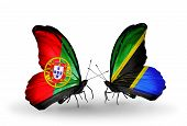 Two Butterflies With Flags On Wings As Symbol Of Relations Portugal And Tanzania