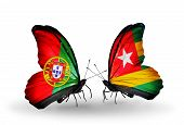 Two Butterflies With Flags On Wings As Symbol Of Relations Portugal And Togo