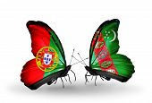 Two Butterflies With Flags On Wings As Symbol Of Relations Portugal And Turkmenistan