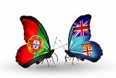 Two Butterflies With Flags On Wings As Symbol Of Relations Portugal And Fiji