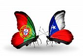 Two Butterflies With Flags On Wings As Symbol Of Relations Portugal And Chile