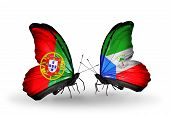 Two Butterflies With Flags On Wings As Symbol Of Relations Portugal And Equatorial Guinea