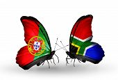 Two Butterflies With Flags On Wings As Symbol Of Relations Portugal And South Africa