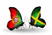 Two Butterflies With Flags On Wings As Symbol Of Relations Portugal And Jamaica