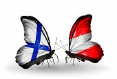 Two Butterflies With Flags On Wings As Symbol Of Relations Finland And Austria