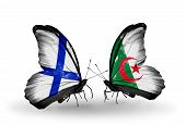 Two Butterflies With Flags On Wings As Symbol Of Relations Finland And Algeria