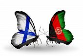 Two Butterflies With Flags On Wings As Symbol Of Relations Finland And Afghanistan