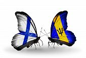 Two Butterflies With Flags On Wings As Symbol Of Relations Finland And  Barbados