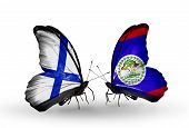 Two Butterflies With Flags On Wings As Symbol Of Relations Finland And  Belize