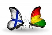 Two Butterflies With Flags On Wings As Symbol Of Relations Finland And  Bolivia