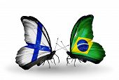 Two Butterflies With Flags On Wings As Symbol Of Relations Finland And  Brazil